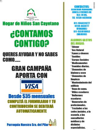 campaña VISA Hogar San Cayetano